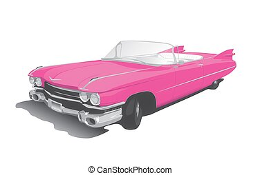 pink convertible on white back ground