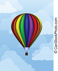 Balloon at daytime - Rainbow colored balloon floating in the...