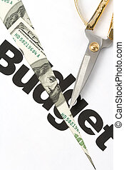 Budget Cut - text of Budget and scissors, concept of Budget...