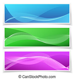 Abstract Banner Background Set - Set of three colorful...