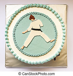 Karate Kid Cake - Birthday cake decorated with karate...