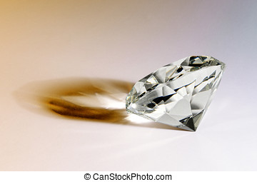 Faceted gemstone or diamond with shadow - Faceted gemstone...