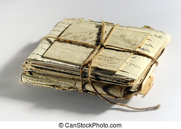 Pile of old aged letters - Pile of old aged worn letters and...