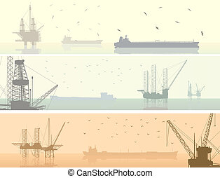 Banners of units for oil industry.