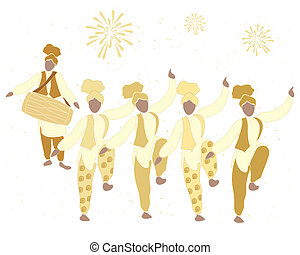 bhangra gold - an illustration of a bhangra dance in gold...