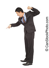 businessman yelling and make a fist