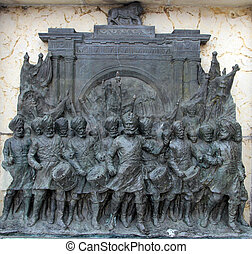 Sikh soldiers represented on a pedestal of the statue...