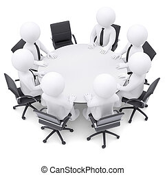 3d people at the round table. One chair is empty - 3d white...