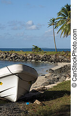 panga native boats on shore North End Big Corn Island...