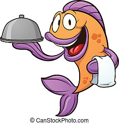 Waiter fish - Cartoon waiter fish Vector clip art...
