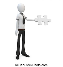 3d man businessman with a piece of jigsaw puzzle on white...