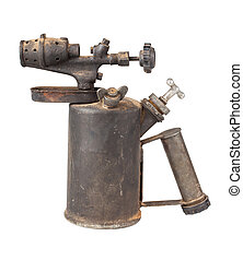 Vintage blowtorch - Vintage rusty blowtorch isolated on...