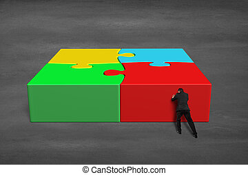 Finish assembling 3d puzzles on concrete ground