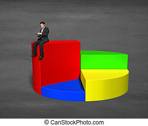 Businessman sitting on top of 3d pie chart