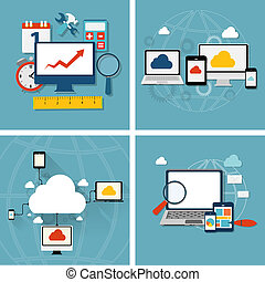 Cloud Computing Concept on Different Electronic Devices...