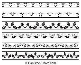 set of vector floral borders
