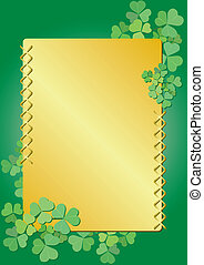 golden and green frame with flora