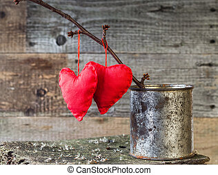 Two Red Hearts twig board rusty tin - Two hearts on a twig...