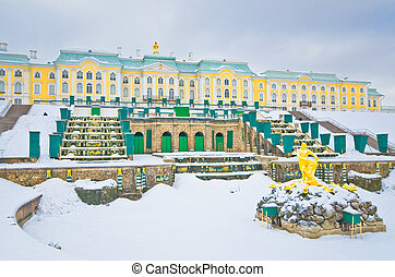 Grand cascade in Pertergof, Saint-Petersburg, Russia - Grand...