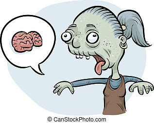 Zombie Woman Wanting Brains - A cartoon zombie woman asking...