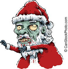 Zombie Santa - Cartoon zombie Santa with blood on his white...