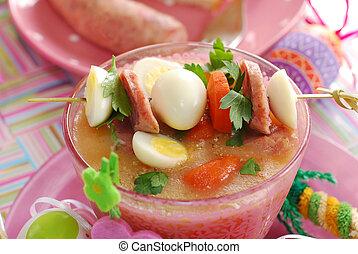 Pascua, blanco, borscht, codorniz, huevos, embutido, rosa,...