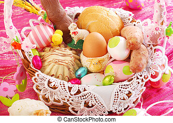 easter basket with traditional food and decorations - easter...