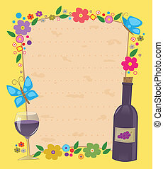 Passover Invitation - Flowered frame with Matzo texture in...