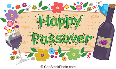 Wine and Flowers Passover Banner - Happy Passover banner...
