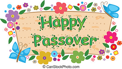 Floral Passover Banner - Happy Passover banner with flowers...