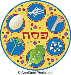 Passover Plate - Passover plate and its symbols, with the...