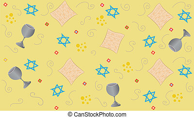 Yellow Passover - Repetitive pattern of Passover symbols...