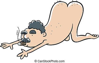 Nude Yoga Man with Cigar - A nudge man practices yoga while...