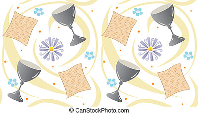 passover pattern - Pattern of matzo, cup, flowers and swirls...