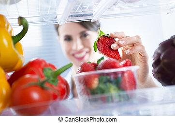 sano, alimento, refrigerador