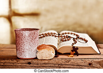 Bible And Rosary - still life with bible and prayer beads