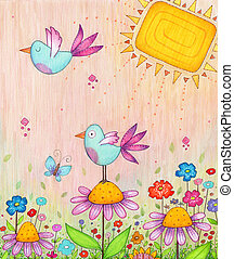 Spring Birds - Colorful illustration of flowers and birds...