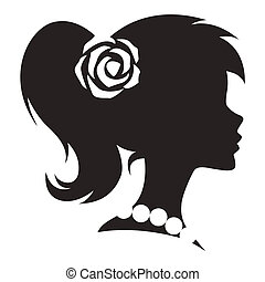 Vintage cameo women silhouette. Vector.