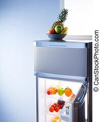 fruta, tazón, abierto, refrigerador