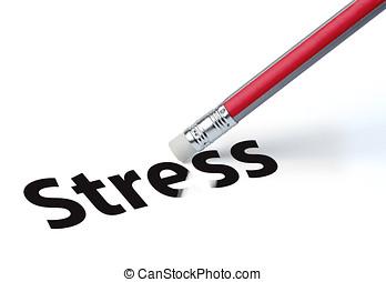Pencil erasing the word 'stress'
