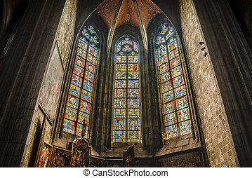 Saint Waltrude church in Mons, Belgium. - Saint Waltrude...