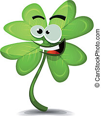 Four Leaf Clover Character - Illustration of a cartoon funny...