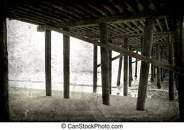 Under the Santa Monica Pier, Retro-styled postcard of the...