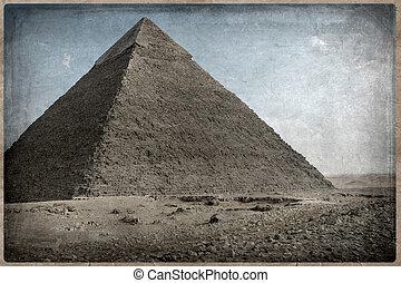 Grunge, imagen, desierto, pirámide
