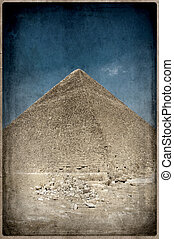 grunge image of Desert and pyramid, Old Postcard style,