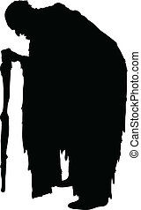 Old Wretch - Silhouette of an old wretch walking with a...
