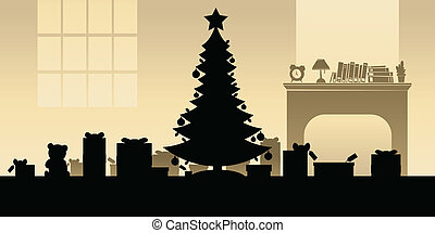 Christmas Morning - Cartoon silhouette of a tree and...