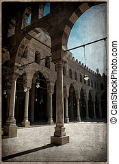 Old Postcard style, Muhamed Ali mosque, Cairo.