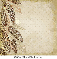 Decorative background with feathers - Decorative vector...