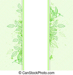 Green banner with leaves and bird